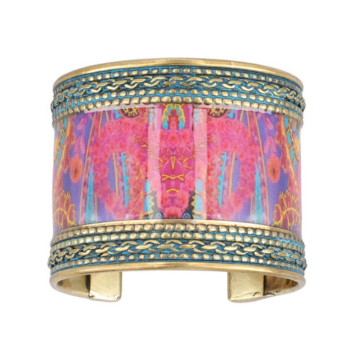 Meena Work Cuff Bangle (size 6.5) in Antique Brass