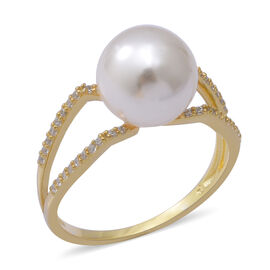 Simulated White Pearl and Simulated Diamond Ring in Yellow Gold Overlay Sterling Silver