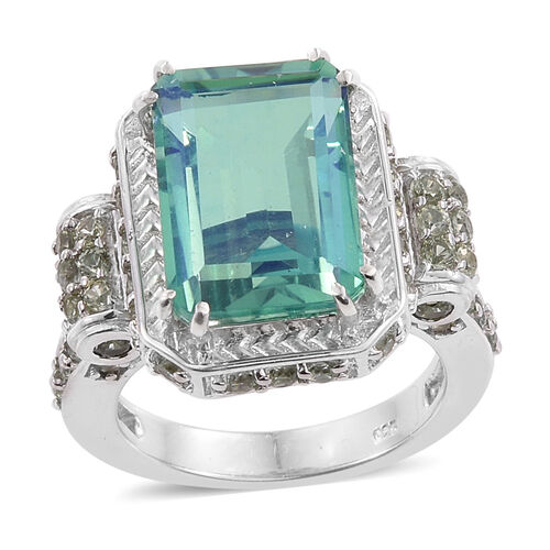 Peacock Quartz (Oct 7.50 Ct),Songea Green Sapphire Ring in Platinum Overlay Sterling Silver 10.500 Ct.