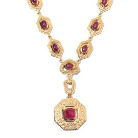 African Ruby Necklace (Size 18 with 2 inch Extender) in 14K Gold Overlay Sterling Silver 15.75 Ct, S