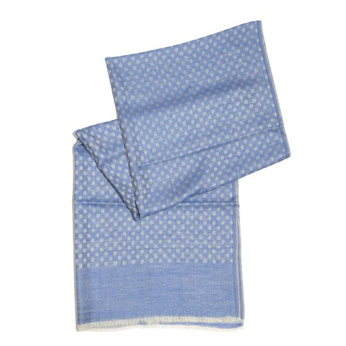 100% Cashmere Wool Blue Colour Polka Dots Pattern Shawl (Size 200x70 Cm)