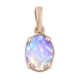 One Time Deal-9K Yellow Gold AAA Ethiopian Welo Opal (Ovl9x7 mm) Solitaire Pendant 1.000 Ct.