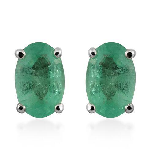 0.90 Ct AA Boyaca Colombian Emerald Stud Earrings in 9K White Gold (with Push Back)