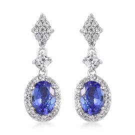 9K White Gold AA Tanzanite and Natural Cambodian Zircon Earrings (with Push Back) 2.75 Ct.
