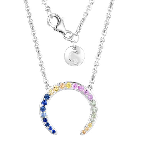 RACHEL GALLEY - Rainbow Sapphire Horseshoe Necklace (Size 16) in Rhodium Overlay Sterling Silver 0.7