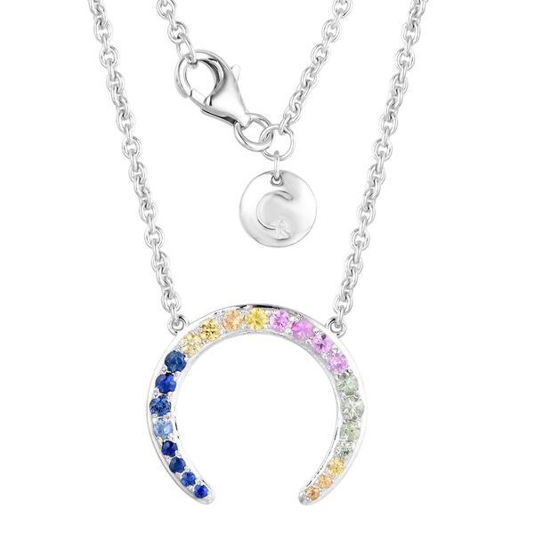 RACHEL GALLEY - Enkai Gemstone Collection- Rainbow Sapphire Horseshoe Necklace (Size 16) in Rhodium
