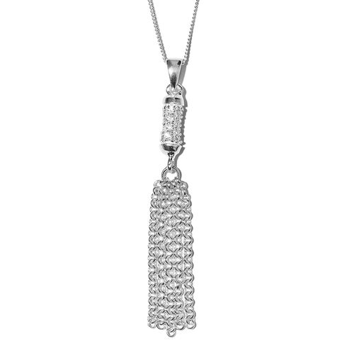 J Francis - Sterling Silver (Rnd) Tassel Pendant With Chain Made with SWAROVSKI ZIRCONIA