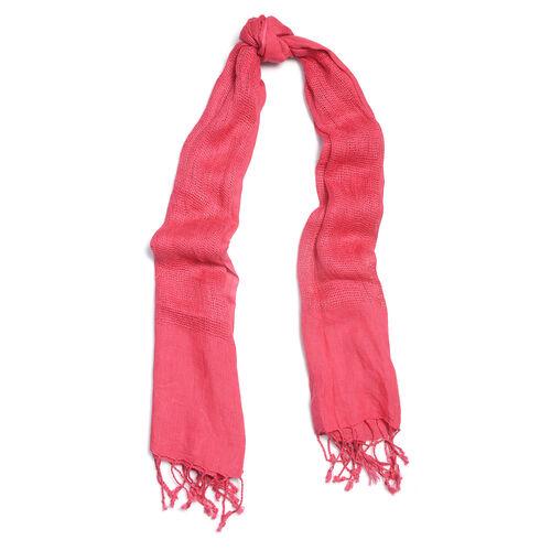New Season Linen Handloom Woven Fuchsia Colour Shawl (Size 180x70 Cm)