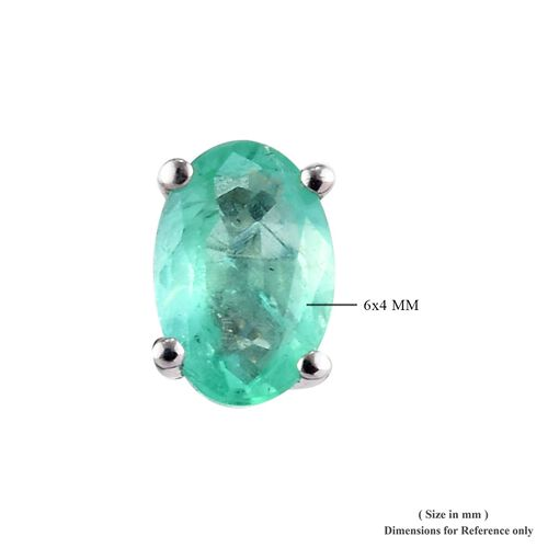 9K White Gold AA Boyaca Colombian Emerald (Ovl) Stud Earrings (with Push Back) 0.850 Ct.