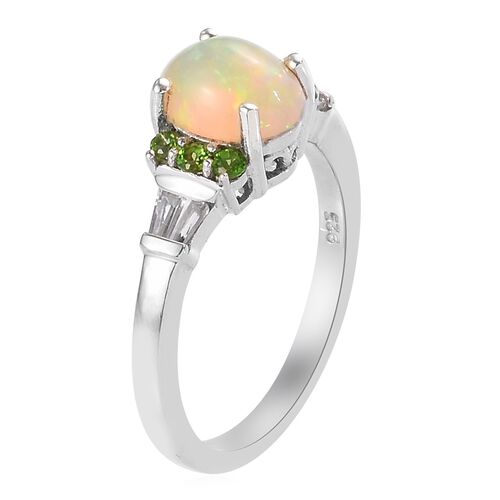 Ethiopian Welo Opal, Russian Diopside and Natural Cambodian Zircon Ring in Platinum Overlay Sterling Silver 1.26 Ct.