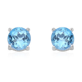 Swiss Blue Topaz (Rnd) Stud Earrings (with Push Back) in Sterling Silver 2.02 Ct.