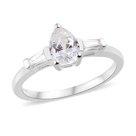 J Francis - Sterling Silver (Pear) Ring Made with SWAROVSKI ZIRCONIA
