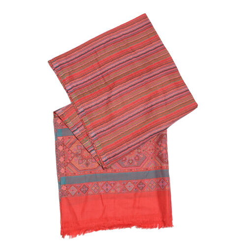 Pink, Blue and Multi Colour Wavy Stripes Pattern Jacquard Scarf with Fringes (Size 200X70 Cm)