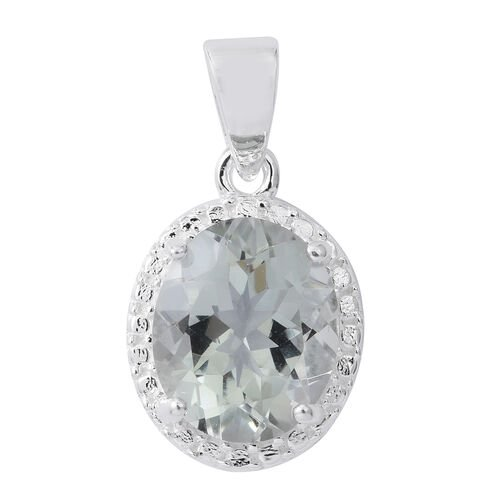 Green Amethyst (Ovl) Solitaire Pendant in Sterling Silver 3.250 Ct.