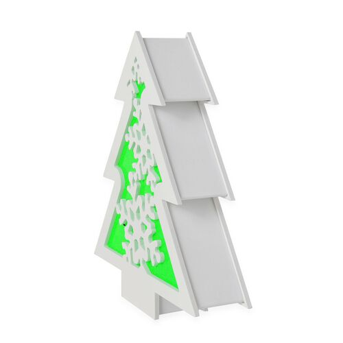 Green and White Colour Snowflake Pattern Wooden Hanging Christmas Tree with LED Light Inside (Size 30X26 Cm)