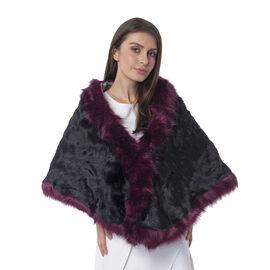 Black Colour With Purple Colour Edge Faux Fur Wrap (Size 160x55 Cm)