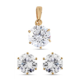 2 Piece Set - J Francis Yellow Gold Overlay Sterling Silver Pendant and Stud Earrings (with Push Bac