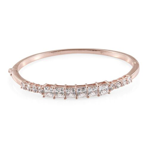 J Francis Rose Gold Overlay Sterling Silver Bangle (Rnd and Sqr) (Size 7.5) Made with SWAROVSKI ZIRCONIA.Silver Wt 18.50 Gms