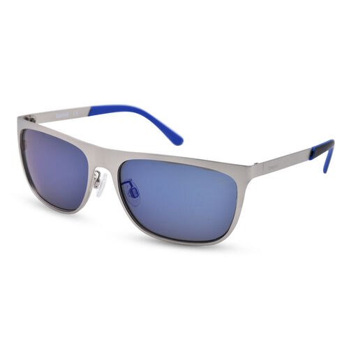 TIMBERLAND Silver Rectangular Sunglasses with Blue Tips and Lenses