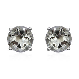 One Time Mega Deal-Green Amethyst (Rnd) Stud Earrings (with Push Back) in Sterling Silver 3.680 Ct.