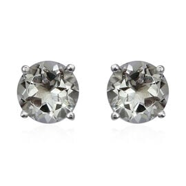 3.68 Ct Green Amethyst Solitaire Stud Earrings in Sterling Silver
