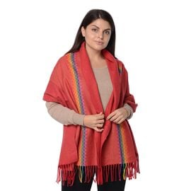 Rainbow Pattern Winter Scarf with Tassels (Size 68x178+7.62 Cm) - Coral