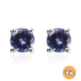 AA Tanzanite Stud Earrings (with Push Back) in Platinum Overlay Sterling Silver 0.54 Ct.