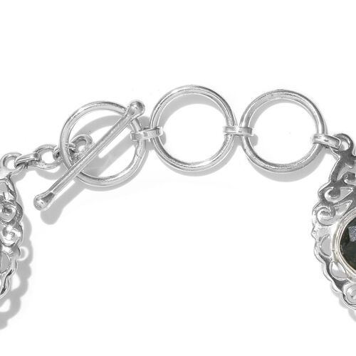 India Emerald (Ovl) Bracelet (size 7.5) in Sterling Silver 23.070 Ct.