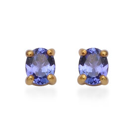 Premium Tanzanite Solitaire Stud Earrings in Gold Plated Sterling Silver
