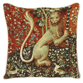 Signare Tapestry Art - Cushion Cover Inspired by Lady and Unicorn (Lion) - 43x43cm