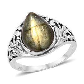 Artisan Crafted Labradorite (Pear) Ring in Sterling Silver 6.450 Ct.