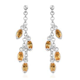 Citrine (Mrq) Dangle Earrings (with Push Back) in Sterling Silver 2.000 Ct. Silver wt 4.22 Gms.