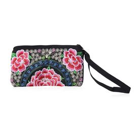 Embroidered Floral Pattern Clutch Bag with Zipper Closure (Size 18.5x10 Cm) - Pink