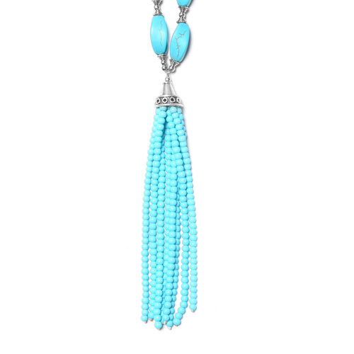 Blue Howlite Necklace (Size 19 with 2 inch Extender) in Antique Silver Plated 237.00 Ct.
