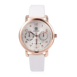 STRADA Japanese Movement Three Eye Chronograph Look Water Resistant Watch with White Strap