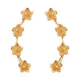 14K Gold Overlay Sterling Silver Flower Climber Earrings