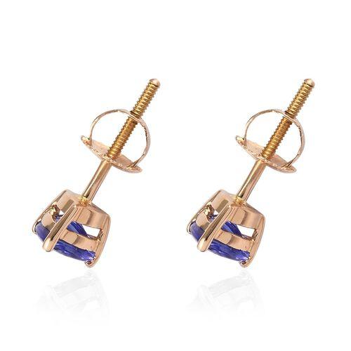 ILIANA 18K Yellow Gold AAA Tanzanite Stud Earrings (with Screw Back) 1.00 Ct.
