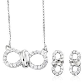 J Francis - Platinum Plated Silver Knot Infinity Pendant with Chain and Stud Earrings Set (with Push Back) Made with SWAROVSKI ZIRCONIA