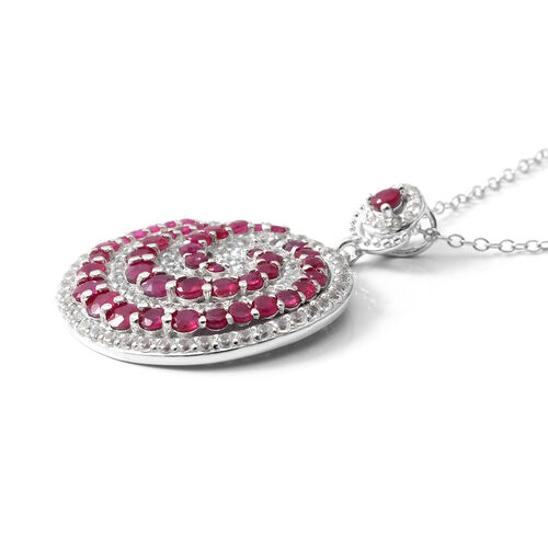 Burmese Ruby (Rnd), Natural Cambodian White Zircon Spiral Galaxy Pendant With Chain in Rhodium Overlay Sterling Silver 4.530 Ct, Silver wt 6.10 Gms