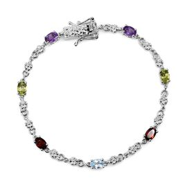 Hebei Peridot, Mozambique Garnet, Sky Blue Topaz and Amethyst Bracelet (Size 7.5) in Platinum Plated