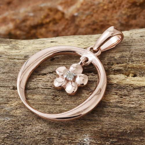 Diamond (Rnd) Flower Pendant in Rose Gold Overlay Sterling Silver 0.020 Ct