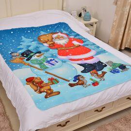 Super Soft SnowMan and Santa Print Pattern Fleece throw - 200 Gsm -  Size 130x170cm.