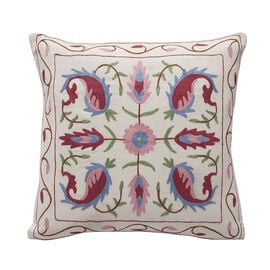 Assots London Hand Made 100% Cotton Embroidered Cushion Cover (Size 45x45cm) - Pink & Blue