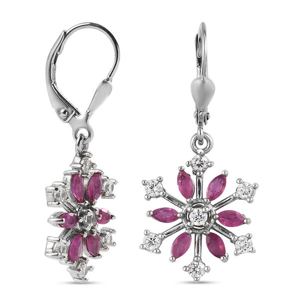 African Ruby (FF) and Natural Cambodian Zircon Snowflake Lever Back Earrings in Platinum Overlay Sterling Silver 2.37 Ct.