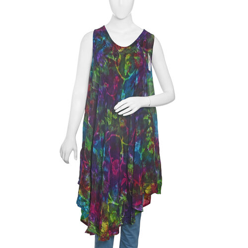New For Season - Purple, Green and Multi Colour Flower and Leaves Pattern Apparel (Free Size)