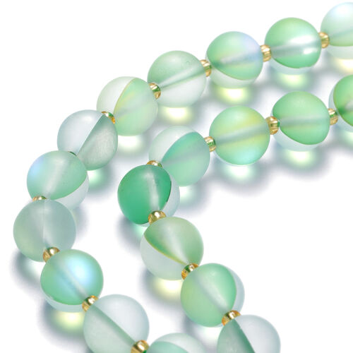 Simulated Green Sapphire, Simulated Champagne Diamond Beaded Necklace (Size 25 with Extension) in Yellow Gold Tone