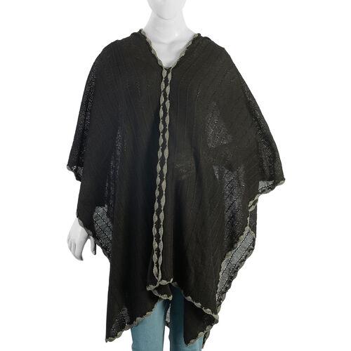 Black Colour Crochet Work Poncho Size 92x52 Cm