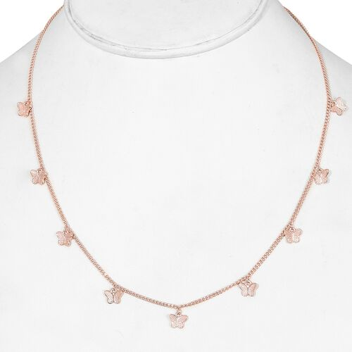 Rose Gold Overlay Sterling Silver Butterfly Station Necklace (Size 18), Silver wt 6.00 Gms