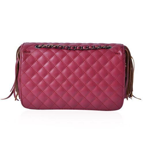 Burgundy Colour Diamond Pattern Shoulder Bag with Tassels (Size 25x16x7 Cm)