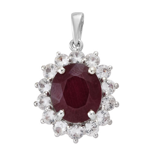 AAA African Ruby (Ovl 12x10mm, 6.85 Ct), Natural Cambodian Zircon Pendant in Platinum Overlay Sterling Silver 9.250 Ct.